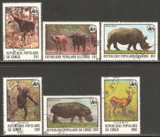 Congo - Brazzaville 1978 Mi# 630-635 Used - Endangered Animals / WWF - Oblitérés