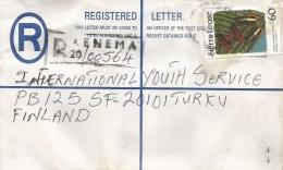 Sierra Leone 1991 Kenema Charaxes Lucretius Le60 Butterfly Registered Postal Stationary Cover - Sierra Leone (1961-...)