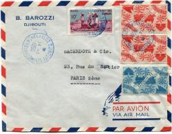 COTE FRANCAISES DES SOMALIS FRANCE LIBRE LETTRE PAR AVION DEPART DJIBOUTI 14-1-50 POUR LA FRANCE - Côte Française Des Somalis (1894-1967)