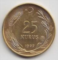 @Y@    Turkije 25 Kurush   1977      (2971)    (gild ?? ) - Turquie