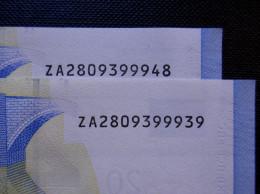 2 X 20 Euro Belgium Z001i4 / ZA2809399939 + ZA2809399948 - 20 Euro