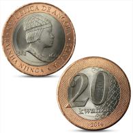 ANGOLA 20 KWANZAS 2014 RAINHA NJINGA A MBANDE BIMETAL BI-METALLIC 2014 UNC - Angola