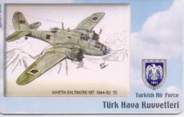 TURKEY PHONECARD  MARTIN BALTIMORE 187 1944-50 AIRPLANE TR-C147 6/06,-200000pcs-USED(2) - Airplanes