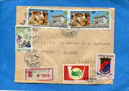 MARCOPHILIE-  Lettre-REC -Madagascar>Fran�e-cad Antsenavolo-1972-5-stamps N�A111 palais t�l�coms