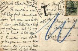 Postkaart, Wijnegem, Nr Turnhout, 1917, T 0,10 - [OC1/25] Gouv. Gén.