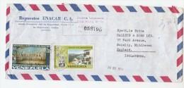 1974 REGISTERED  Air Mail COVER VENEZUELA Stamps  2.00 MARACAIBO Battle SAILING SHIPS 0.25 Homes 0.50 Communication - Venezuela