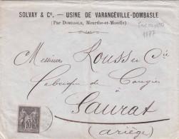 FRANKREICH 1877? - 10 F Auf Firmen-Brief SOLVAY & Cie, Gel.nach Saurat, Stempel Tarascon - France