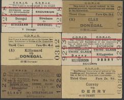 BB253 IRELAND 6 County Donegal Railway Tickets Strabane Killymard Clar Clady Convoy Killygordon - Europa