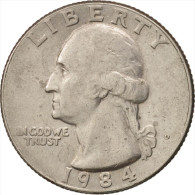 États-Unis, Washington Quarter, Quarter, 1984, U.S. Mint, Denver, TTB+, Copp... - Federal Issues