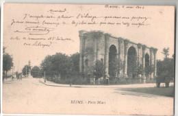 CPA  REIMS PORTE MARS  (51 MARNE) ATTELAGE CHEVAL AU FOND - Reims