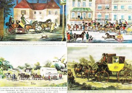 4 POSTCARDS: MAIL-COACH - Exeter, Gloucester, Falmouth & Bath - England - Post