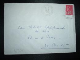 LETTRE TP MARIANNE DE BEQUET 0,50 OBL.28-6-1971 45-LES AUBRAIS ENTREPOT LOIRET (45) - Railway Post