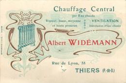 63 - THIERS - Ets. Albert WIDEMANN - CHAUFFAGE CENTRAL - CARTE COMMERCIALE ANCIENNE(8 X 12 Cm). - Thiers