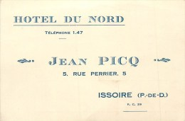 63 - ISSOIRE - HÔTEL DU NORD  - CARTE COMMERCIALE ANCIENNE (8 X 12 Cm). - Issoire