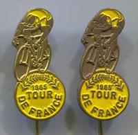 Cycling Bike Bicycle Bicicletta - TOUR DE FRANCE 1965. Vintage Pin Badge, 2 Pieces - Radsport