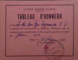 South Viet Nam Vietnam : Tableau D´ Honneur Of Lycee Marie Curie In 1954 - Diploma & School Reports