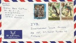 Sierra Leone 1983 Moyamba Princess Diana Parrot 10c (1983) Blue Plaintain Eater 30c (1983) Cover - Sierra Leone (1961-...)