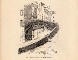 1888 - Gravure Sur Bois - Montbrison (Loire) - Le Vieux Quartier - FRANCO DE PORT - Prenten & Gravure