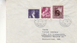 Liechtenstein - Lettre De 1953 - Oblitération Ruggell - Valeur 10,40 Euros ( 8 + 2,40 ) - Liechtenstein