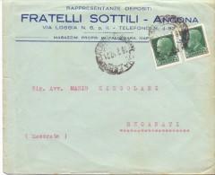 FRATELLI SOTTILI - FALCONARA MARITTIMA - 12X16 - LS - ANNO 1932 - TEMA TOPIC COMUNI D´ITALIA - STORIA POSTALE - Affrancature Meccaniche Rosse (EMA)