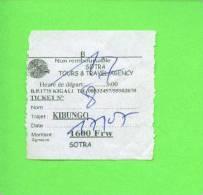 RWANDA - Sotra Tours Bus Ticket/Kibungo - Welt