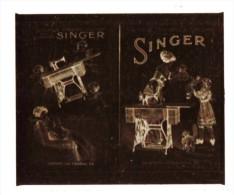 negatif photo de  2 cartes postales anciennes PUBLICITE SINGER (LOT AC1)