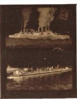 """negatif photo de  2 cpa le cuirass� a turbines""""MIRABEAU"""" et le submersible """"PAPIN"""" (LOT AC1)"""