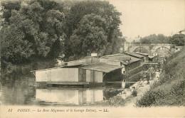 Dép 78 - Lavoirs - Bateaux Lavoir - Pêcheurs - Pêche à La Ligne - Poissy - Le Bras Migneaux Et Le Garage Delmez - état - Poissy