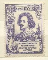 ERINNOFILO  ANVERSA GRANDI FESTE PER A.VAN DYCK - 1599 - 1899 - Erinnofilia