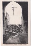 02 -  FAVEROLLES  - INTERIEUR DE L EGLISE  LE CHOEUR CROIX DE JESUS  BATAILLE DE L 'OURCQ JUILLET 1918