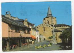 {63595} 65 Hautes Pyrénées Saint Savin , L' Eglise Abbatiale Et La Place ; Environs D' Argelès Gazost ; Café De La Poste - France