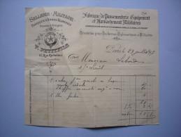Facture Illustrée 1897V. Petitfils Sellerie Militaire Fabrique Armes Blanches Passementerie Et Harnachements Paris - France
