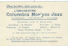 Gard : La Grand-Combe, Carte Publicitaire De L'Orchestre Mor'yss Jazz (1941) - La Grand-Combe