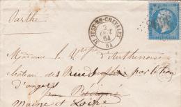 1864. LETTRE.  LOIRE N° 22. ST JUST EN CHEVALET. GC 3698. BOITE RURALE A . CORRESPONDANCE  /1435 - Marcophilie (Lettres)