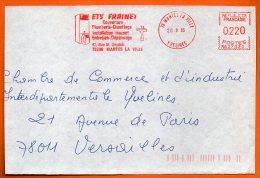 78 MANTES LA VILLE  PLOMBERIE CHAUFFAGE  1985 Devant De Lettre N° EMA 3307 - Storia Postale