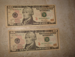 2 x 10 DOLLARS 2006 2004  BILLET USA