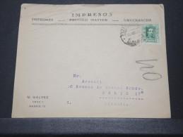 ESPAGNE - Env Madrid Pour Paris - Avril 1920 - A Voir - P 16631 - 1889-1931 Kingdom: Alphonse XIII