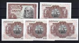 EDIFIL D66A. 1 PTA 22 DE JULIO DE 1953 SERIE F.  LOTE DE 5 BILLETES CORRELATIVOS - [ 3] 1936-1975 : Regency Of Franco