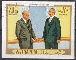 624 Ajman 1970 Eisenhower E Adenauer  Imperf. - Célébrités