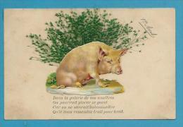 CPA Ajouti Gaufré Cochon Pig Herbe Séchée 1er Avril - 1er Avril - Poisson D'avril