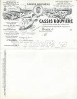 Feuille à Entête Vierge - Cassis Rouvière - Dijon (19..) - Levensmiddelen