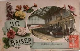 Cpa 01 ST-TRIVIER-de-COURTES   UN BAISER  De... , Photo-montage Train En Gare Et Fleurs - France