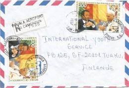 Cameroon Cameroun 1987 Douala Aeroport Pope John Paul II Visit Flag Registered Cover - Kameroen (1960-...)