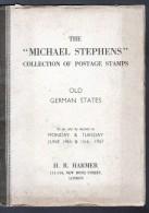 CATALOGUE 1937 DE VENTE AUX ENCHERES, MICHAEL STEPHENS, TIMBRES DES ANCIENS ETATS ALLEMANDS - Catalogues For Auction Houses