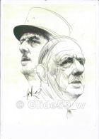 2 Portraits Du Général DE GAULLE - Drawings