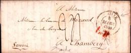 Lettre Avec Correspondance Lille Nord Savoie Chambéry États Sardes Baronne De Morand 1840 - Marcofilie (Brieven)