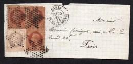 Napoléon III- Lauré-(Gér) Sur Devant De Lettre- 2 Cts Brun X 3 + 4 Cts  Gris  Yvert N° 26 Et 27  Obl étoile - 1863-1870 Napoleone III Con Gli Allori