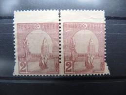 TUNISIE - Variété De Piquage Du N°30 SG En Paire Avec Débord De Papier En Tête - Pas Courant - Légère Déchirure - P16670 - Tunisie (1888-1955)