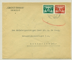 Nederland - 1947 - Paartje 2,5+7,5 Cent Vliegende Duif Op Brief Van Ermelo-Veldwijk Naar Rotterdam - Periode 1891-1948 (Wilhelmina)