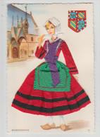 Carte Brodée - BOURGUIGONNE - édit. FANTA CAP, 20 - 9 X 13,3 Cm - - Brodées